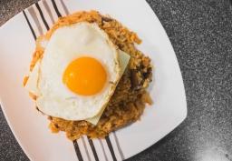 Homemade Spam and Mushroom Kimchi Fried Rice